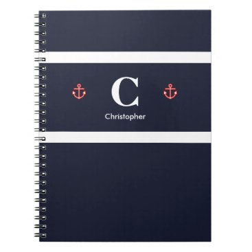 Beach Themed Custom Nautical Anchor Navy Blue White Stripes Notebook