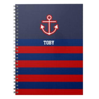Custom Nautical Anchor Navy Red Stripes Notebook