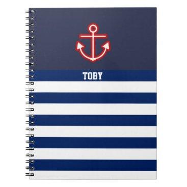 Beach Themed Custom Nautical Anchor Navy White Stripes Notebook
