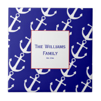 Custom Nautical Anchor Red, White and Blue Tile