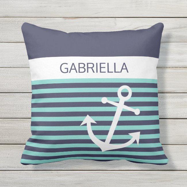 Custom Nautical Aqua Turquoise Blue Stripe Pattern Outdoor Pillow