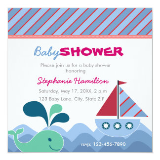 Custom nautical Baby Shower 5.25x5.25 Square Paper Invitation Card