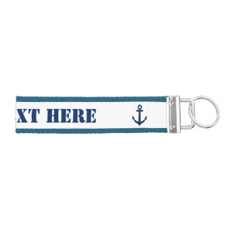 Custom nautical boat anchor grosgrain keychain