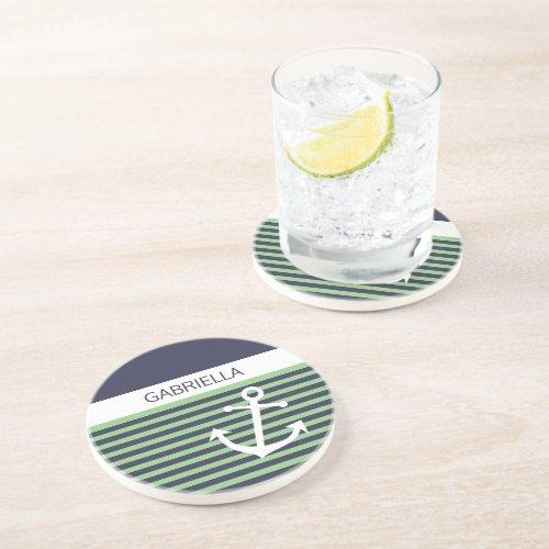 Custom Nautical Lime Sage Green Stripe Pattern Coaster