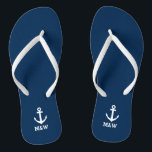 """Custom nautical monogram beach wedding flip flops<br><div class=""""desc"""">Personalized beach wedding flip flops for bride and groom or guests. Elegant party favor set with custom last name or monogram and sailing ship / boat anchor icon. Custom background and strap color for him and her / men and women. Romantic navy blue and white his and hers wedge sandals...</div>"""