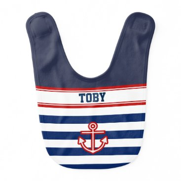 Beach Themed Custom Nautical Navy White Stripes Bib