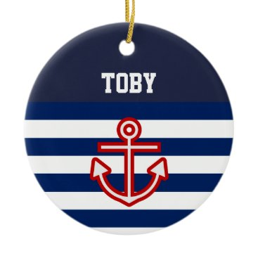 Beach Themed Custom Nautical Navy White Stripes Ceramic Ornament