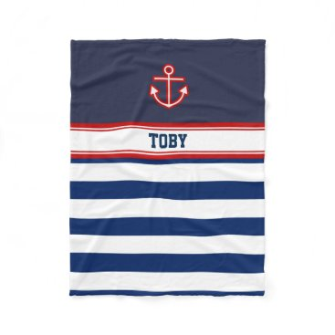 Beach Themed Custom Nautical Navy White Stripes Fleece Blanket