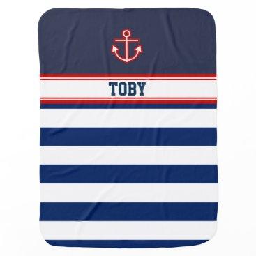 Beach Themed Custom Nautical Navy White Stripes Swaddle Blanket