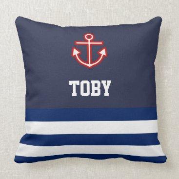 Beach Themed Custom Nautical Navy White Stripes Throw Pillow