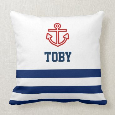 Beach Themed Custom Nautical Navy White Stripes Throw Pillow