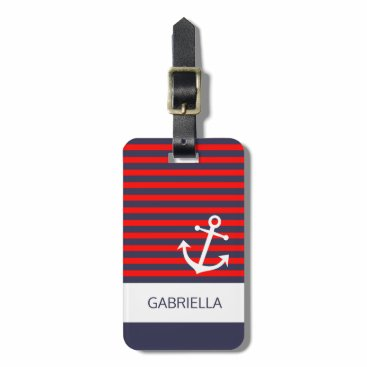 Custom Nautical Red White Blue Striped Pattern Bag Tag