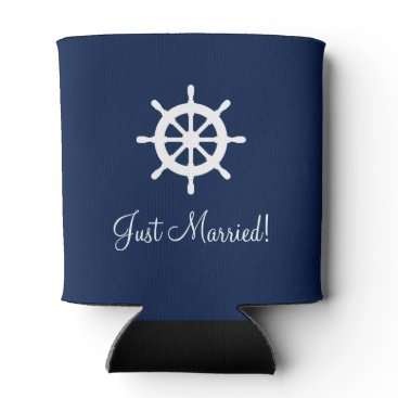 Beach Themed Custom nautical ship wheel helm wedding can cooler