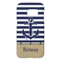 Custom Nautical Trendy Anchor Stripes Pattern Samsung Galaxy S7 Case