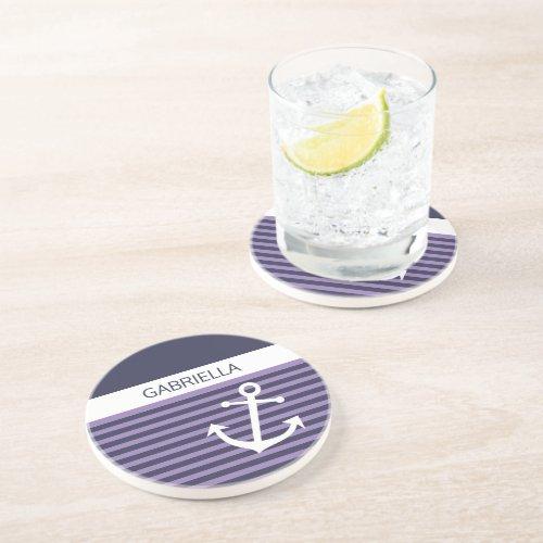 Custom Nautical Violet Purple Stripe Pattern Coaster