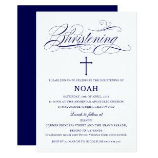Custom Navy Blue and White Christening Card