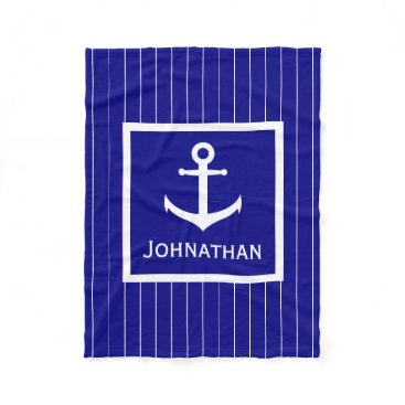 Beach Themed Custom Navy Blue and White Nautical Blanket