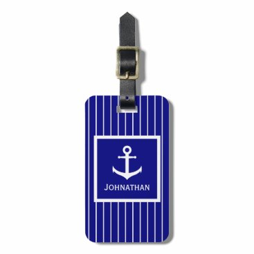 Custom Navy Blue and White Striped Nautical Luggage Tag