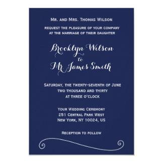 Custom Navy Blue And White Wedding Invitations