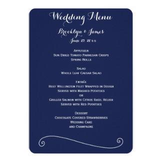 Custom Navy Blue And White Wedding Menu 5x7 Paper Invitation Card