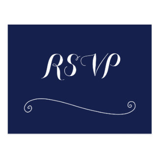 Custom Navy Blue And White Wedding RSVP Postcards