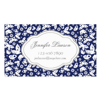 Custom Navy Blue Butterfly Business Card Template
