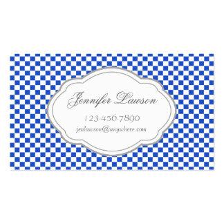 Custom Navy Blue Checkered Business Card Template