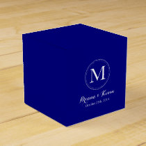 Custom Navy Blue Colored Monogram Favor Boxes