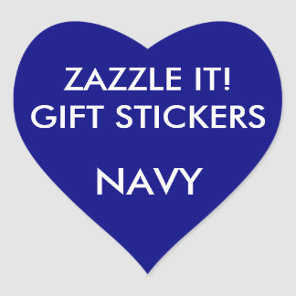 Custom NAVY BLUE HEART Card & Gift Stickers
