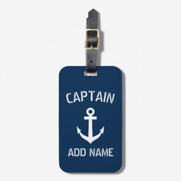 Custom navy blue nautical anchor boat captain bag tag