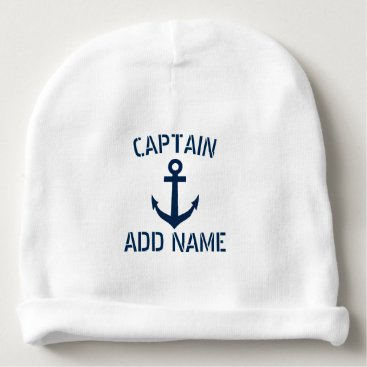 logotees Custom navy blue nautical anchor boat captain cute baby beanie