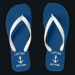 """Custom navy blue nautical anchor boat captain flip flops<br><div class=""""desc"""">Custom navy blue and white nautical anchor boat captain flip flops. Personalized beach slippers with ship anchor logo. Maritime sandals for sailor and sailing enthusiasts. Customizable color. Cool Birthday party gift or party favor idea for friends, dad, husband, uncle, grandpa, wedding groom and bride, guests etc. Unique maritime and boating...</div>"""