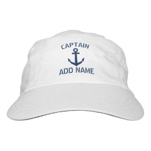 Custom navy blue nautical anchor boat captain hat