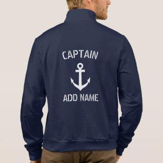 Custom navy blue nautical anchor boat captain jacket