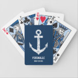 "Custom navy blue nautical anchor playing cards<br><div class=""desc"">Custom navy blue nautical boat anchor playing cards. Personalized gift or party favor for Birthday, wedding, bridal shower, anniversary, retirement, business etc. Add your own name, surname, monogram, wedding date, funny quote etc. Fun accessory for ship captain, sailor, gamblers, married couple, guests, kids etc. Maritime / sailing theme game template...</div>"