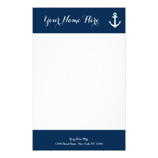 Custom navy blue nautical anchor stationery paper
