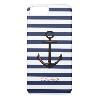 Custom Navy Blue Nautical Brass Anchor iPhone 8 Plus/7 Plus Case