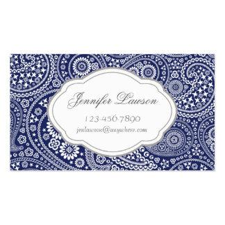 Custom Navy Blue Paisley Business Card Template