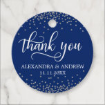 "Custom Navy Blue Silver Confetti Wedding Thank You Favor Tags<br><div class=""desc"">Lovely calligraphy script personalized thank you wedding stickers to add to your guest gifts favors. Navy blue background (can be changed to any color) color. Faux silver grey glitter confetti. Perfect for any wedding theme; nautical. Editable template labels.</div>"