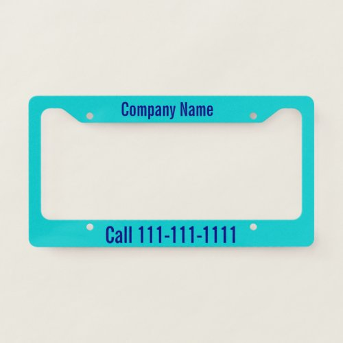 Custom Navy Blue Text on Dark Turquoise Company Ad License Plate Frame