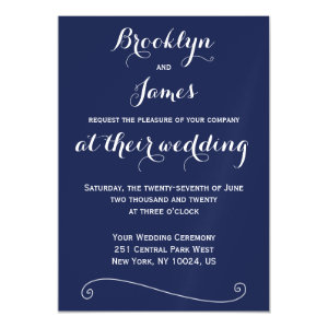 Custom Navy Blue Wedding Invitations Magnetic Card Magnetic Invitations