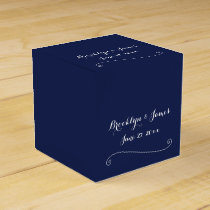 Custom Navy Blue White Wedding Favor Boxes