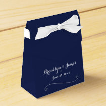 Custom Navy Blue White Wedding Favor Boxes Tent
