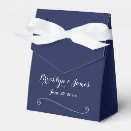 Custom Navy Blue White Wedding Favor Boxes Tent