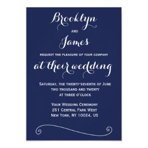 Custom Navy Blue White Wedding Invitations 5