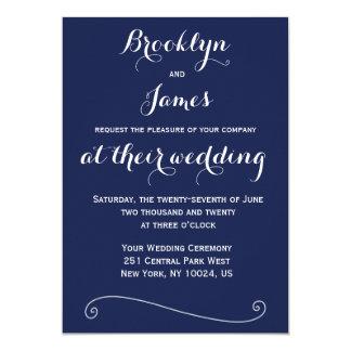 "Custom Navy Blue White Wedding Invitations 5"" X 7"" Invitation Card"