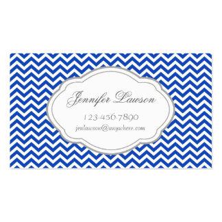 Custom Navy Blue Zigzag  Business Card Template