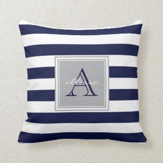 CUSTOM Navy Monogrammed Awning Stripe Throw Pillow