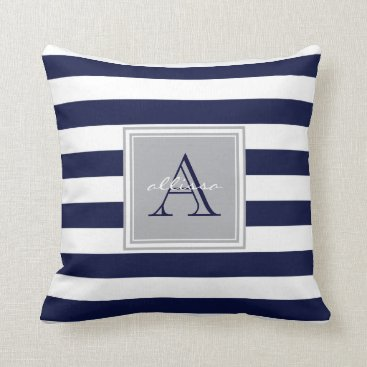 Beach Themed CUSTOM Navy Monogrammed Awning Stripe Throw Pillow