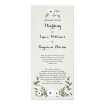 Custom navy Painted Anemones Wedding Program